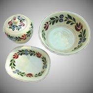 Antique Adams Titan Ware Alcazar Jam Jar Two Serving Bowls