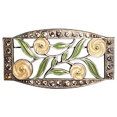 Catherine Popesco Vintage Brooch Pin Enamel Crystals Rhinestones Flowers