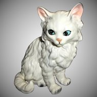Vintage Lefton Cat Kitten Figurine White with Gray Streaks