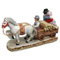 1987 Lefton Figurine Horses Pulling Hay Wagon with Couple