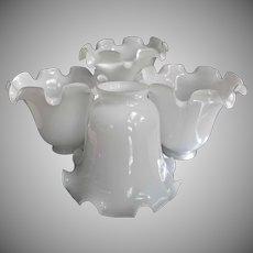 Four Vintage Glass White Ruffled Lamp Light Shades