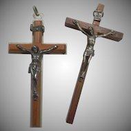 Pair of Vintage Wooden Metal Crucifix Cross Jerusalem Italy