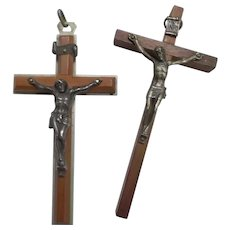 Pair of Vintage Wooden Metal Crucifix Cross Jerusalem Italy