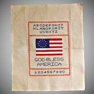 Vintage Cross Stitch Embroidery Sampler God Bless America Flag Alphabet Numbers