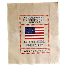 Vintage Cross Stitch Embroidery Sampler God Bless America Flag Alphabet Numbers