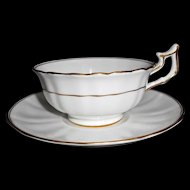 Seven Antique Cauldon Cup Saucer Sets White Fluted with Gold Gilt early 1900s