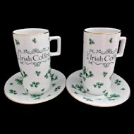 Set of Two Vintage Lefton Irish Coffee Cups Saucers Plates Green Clovers