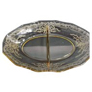 Yellow Fostoria Glass Divided Relish Dish June Etching 279