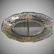 Yellow Fostoria Glass Divided Relish Dish June Etching 279