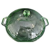 Jeannette Glass Green Handled Bowl with Lid Poinsettia or Floral 1930's