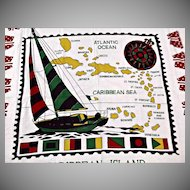 Caribbean Island Table Cloth with Fringe Vintage Textile
