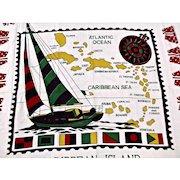 Vintage Caribbean Island Table Cloth with Fringe