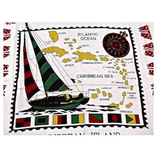 Vintage Caribbean Island Table Cloth with Fringe