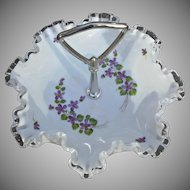 Fenton Glass Silvercrest Violets in Snow Vintage Handled Tidbit Tray Candy Bowl