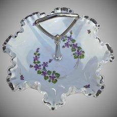 Fenton Glass Silvercrest Violets in Snow Vintage Handled Tidbit Tray Candy Bowl