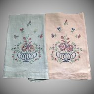 Pair Vintage Hand Finger Tea Towels Green Peach Linen Embroidered Flower Basket