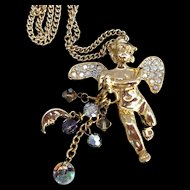 Kirks Folly Vintage Angel Cherub Pendant Necklace Moon Star