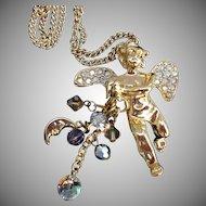 Kirks Folly Vintage Angel Cherub Pendant Necklace Moon Star