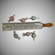 Vintage Candy Thermometer American Thermometer Co. Metal Wood