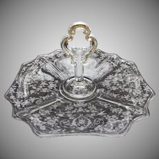 Cambridge Glass Diane Center Handled Tray Elegant