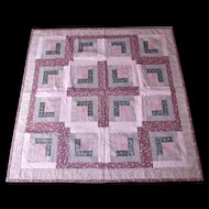 Vintage Machine Made Quilt Wall Hanging Pinks