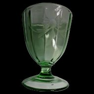 Large Green Paneled Glass Goblet Vase Compote Vintage Wheel Cut Flowers
