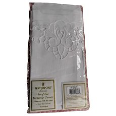 Pair White Waterford Linen Fingertip Towels Vintage 1996 Embroidery Openwork