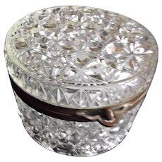 Early 1900s Round Glass Powder Jar Box Casket Stars Diamonds Fans