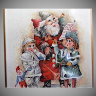 Pimpernel Vintage Christmas Coasters Santa Claus Boy Girl Horns Music