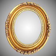 Gold Washed Vintage Wood Gesso Oval Frame Roses