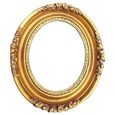 Gold Washed Vintage Wood Gesso Oval Frame Roses