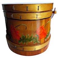 Folk Art Wood Firkin Bucket Hand Painted Red Poppies Vintage