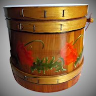 Folk Art Wood Firkin Bucket Hand Painted Red Poppies Vintage