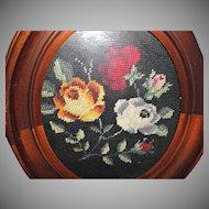 Old Mahogany Frame with Needlepoint Roses