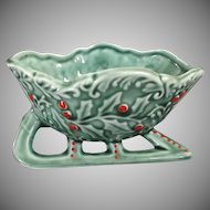 Napco Ceramic Christmas Sleigh Green Holly Red Berries