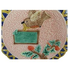 Fitz and Floyd 1994 Majolica Plate Merry Xmas Happy New Year Wall Hanging