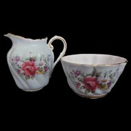 Paragon Vintage Mini Bone China Creamer Sugar Bowl Pale Blue Foral Bouquet Gold Gilt