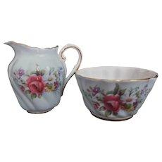 Paragon Vintage Mini Bone China Creamer Sugar Bowl Pale Blue Foral Bouquet Gold Gilt