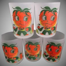Hazel Atlas Frosted Tomato Juice Glasses Tumblers Five Anthropomorphic Farmer