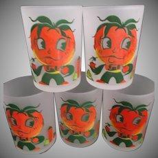 Hazel Atlas Frosted Tomato Juice Glasses Tumblers Five Anthropomorphic Farmer
