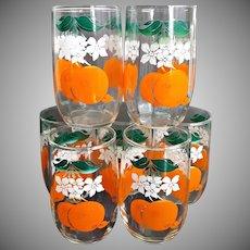 Six Mid Century Orange Juice Tumblers