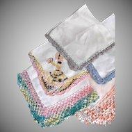 Five Vintage Linen Hankies Crochet Embroidery Unused