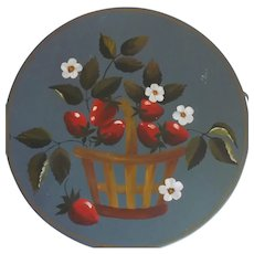 Folk Art Tole Painted Blue Round Kreamer Tin Basket of Strawberries Signed