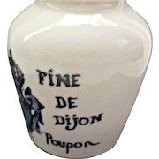 French Vintage Sarreguemines Mustard Pot Blue White Dijon Grey Poupon