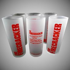 Libbey Glass Seagram Seven Zombie Firecracker Tumblers Vintage Glasses