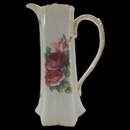 Tall Vintage Cracker Barrel  Pitcher Ewer with Pink Roses Gold Gilt