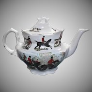 Vintage English Fox Hunt Teapot by Crownford Giftware Riders Horses Dogs