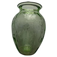 Cameo Ballerina Depression Green Glass Vase Hocking Glass. Co. 1930s