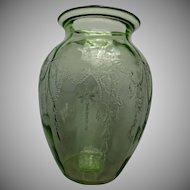 Cameo Ballerina Depression Green Glass Vase Hocking Glass. Co. 1930s