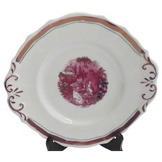 19th Century Pink Lustre Plate with Transfer Center Young Girl Cat